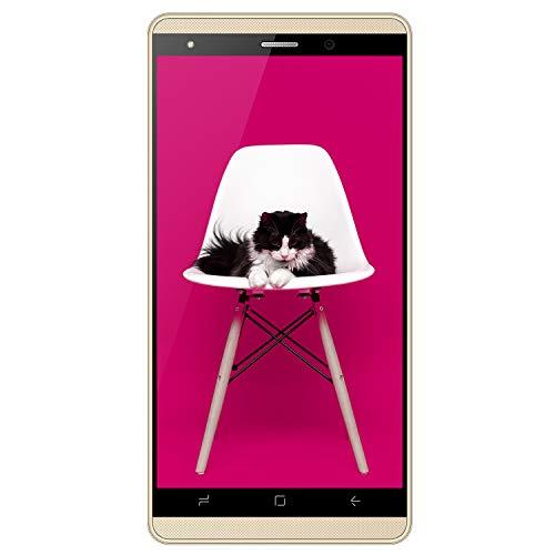 Moviles Libres Baratos 4G,5.1 Pulgadas 16GB ROM,2800mAh Batería,Dual Camara,Dual Sim,Android 7.0 Smartphone Baratos Libres Duoduogo J3 (Oro)