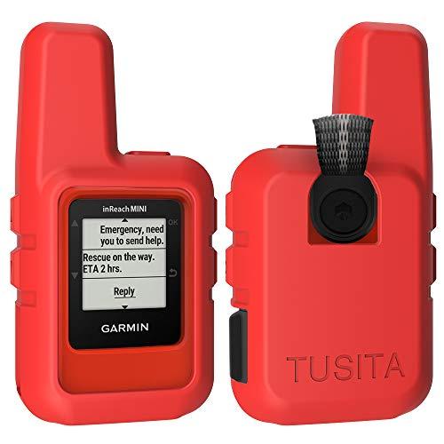 TUSITA Hülle für Garmin inReach Mini GPS - Silikon Schutzhülle Skin - Handheld Satellite Communicator Zubehör (ROT) - Hand-held-gps-fall