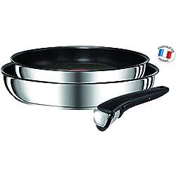 Tefal-L9409202-Ingenio Preference Lot de 2 Poêles 24/28 cm + 1 Poignée Inox Anti-Adhésif Tous Feux Dont Induction