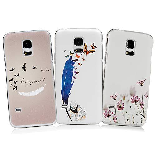 S5 Mini Case YOKIRIN 3x Hülle für Samsung Galaxy S5 Mini Hardcase Handyhülle Skin Painted Gemalt PC Durchsichtig Transparent Rahmen Telefon Kasten Schutzhülle Case Cover Muster: Feather Bird -