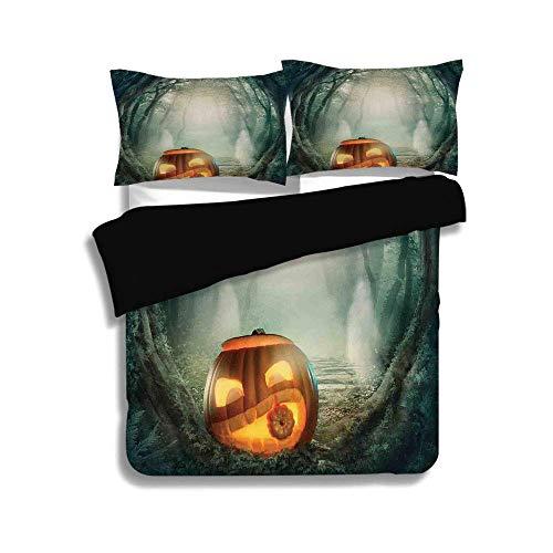 Schwarzer Bettbezug Set, Halloween-Dekorationen, Scary Halloween Kürbis Enchanted Forest Mystic Twilight Party Art, Orange Teal, dekorative 3 Stück Bettwäsche Set von 2 Pillow Shams, TWIN-Größe