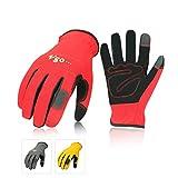 Vgo Glove Guanti, 3 paia, guanti da lavoro in pelle nabuk, guanti da giardinaggio, meccanico, edile, multifunzione (8/M,Rosso & Grigio & Giallo,NB7581)