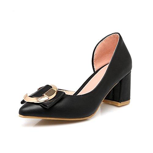 Dimaol Chaussures Femme Pu Printemps Automne Confort Chunky Talons Perlé Boucle Boucle Pour Bureau Extérieur Et Carrière Rouge Argent Noir Noir