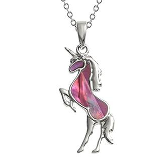 08a42c2a1727 Kiara joyas unicornio colgante collar incrustados con Natural color rosa y  azul Paua Abalone Shell de 45 cm cadena de rastro.