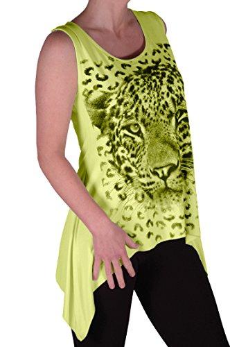 EyeCatch - Débardeur drapé stretch - Tigre - Femme - Grandes Tailles Citron Vert