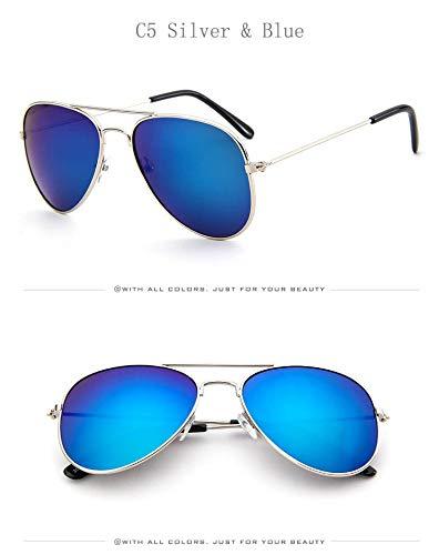 Flyasyanjing Retro Kinder Luftfahrt Sonnenbrille Gold Frame Brille Kind Kinder Uv 400 Piloten Sonnenbrille Eyewear Mädchen Jungen Designer Helle Und Komfortable Sommer Silber Blau