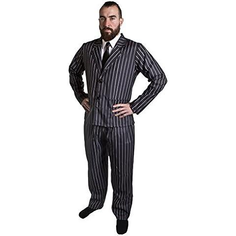 ILOVEFANCYDRESS - Disfraz de gánster de años 20 para adulto (traje chaqueta de rayas negras y blancas y corbata negra, tallas S-XXL)