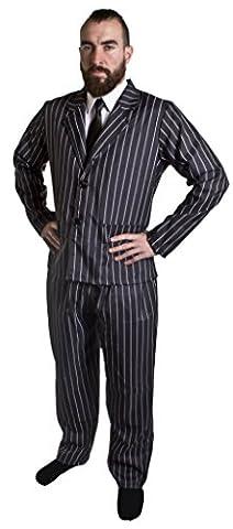 Déguisement de gangster avec la veste et le pantalon à rayures + une cravate pour (Nero Giacca Gessata)