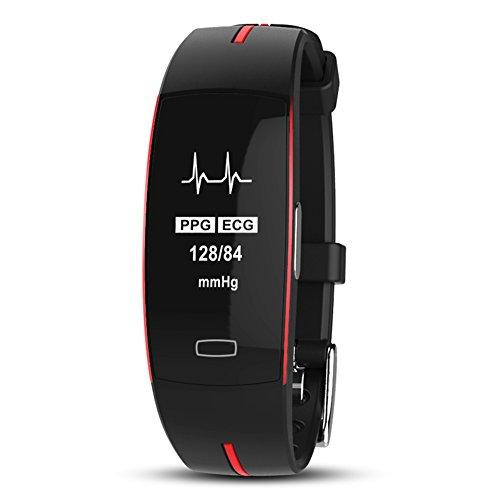 Del&Way Fitness tracker,ECG+PPG Pulsmesser Blutdruck Schlafen, Überwachung Smart bracelet Mit Temperatur Maßnahme Und Spur aktivität Schrittzähler-B