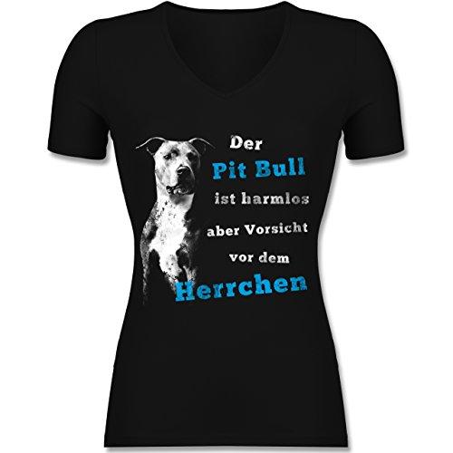 Hunde - Der Pit Bull ist harmlos aber Vorsicht vor dem Herrchen - Tailliertes T-Shirt mit V-Ausschnitt für Frauen Schwarz