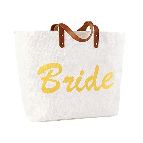 ElegantPark BRIDE Braut Hochzeit Tasche Geschenktüten Strandtasche 100{9f437cd19b3c0da60d9ad1b7f537d3acde9f02dd653973ed48ef62a42b76308e} Jute Einkaufstasche 54,5 x38 x 15 CM