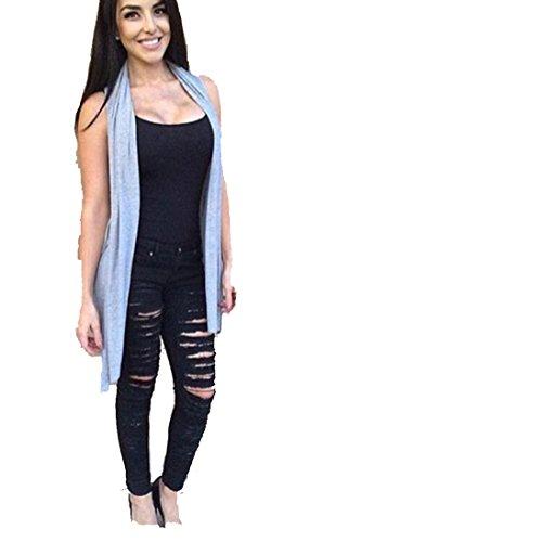 Tefamore Frauen Denim Skinny Hose High-Waist Stretch-Jeans Slim Bleistift Hose gerissen (M)