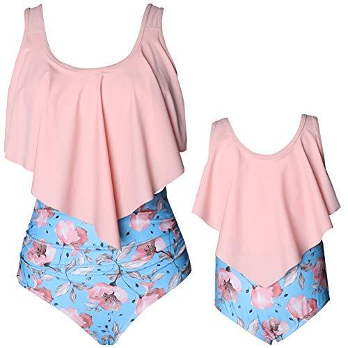 Shawnlen Mutter Tochter Bademode Eltern Kind Badeanzug abnehmbare Rüsche hohe Taille Druck niedlichen Bikini-Outfit Set 2 Stück (M-Erwachsene, Rosa-Erwachsene)
