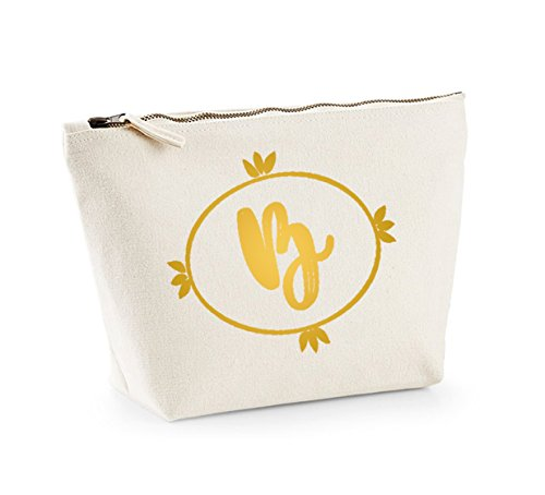 Personalised Initial - Custom - Fun Slogan, Make Up and Cosmetics Bag, Accessory Organiser Natural/Gold