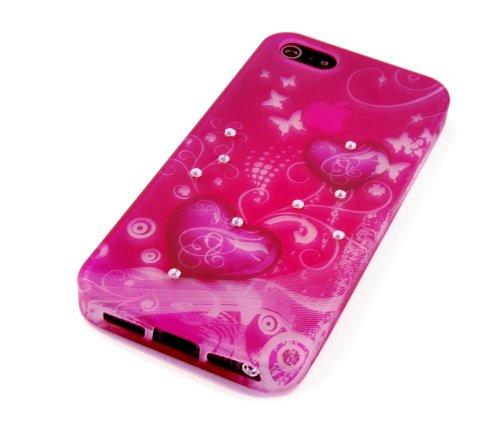 gada-Custodia per Apple iPhone 5S 55G-Cover in TPU Case motivo: cuori hearts in stile con strass rosso/rosa