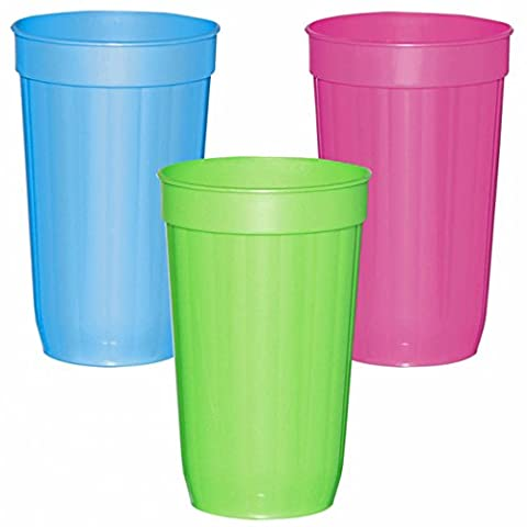 4 Tropical Party Summer BBQ Green Blue Pink 30oz Plastic Tumblers Glasses