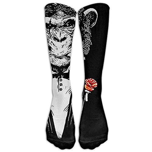 Checkerboard Knee High Long Socks Athletic Sports Tube Stockings For Running Football Soccer Black Monkeys Ape Wear Suits (Pants Sock Monkey)