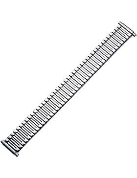 Uhrenarmband 18mm Metall Silber Flexibel XL, Extra Lang - Glanzpoliertes Zugband - Flexband Aus Edelstahl - Marburger...