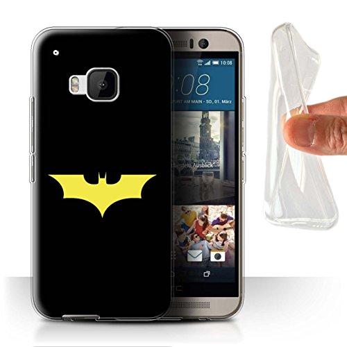 Stuff4® Gel TPU Hülle/Case für HTC One/1 M9/Bat-Signal Inspiriert Muster/Minimalistische Filmkunst Kollektion (M9 Bat)