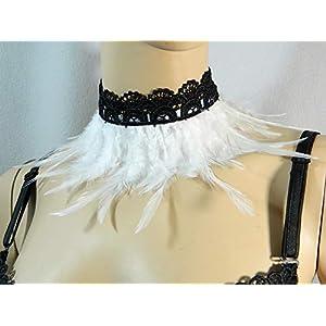 Feder Halsband Kragen schwarz weiß Choker Kropfband Kette Karneval Kostüm Vogel Federkragen Papagei