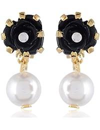 FirstBlush Non Pierced Black & Gold Alloy Dangle & Drop Earrings For Women (CLI-RPAX-BLK)