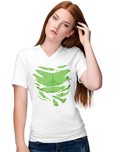 BLAK TEE Damen The Increadible Big Green Man Super Hero Chest Under Torn V-Neck T-Shirt S -
