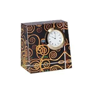 """Goebel 66879544 Horloge de table au motif du tableau """"L'arbre de vie"""" de Gustav Klimt"""