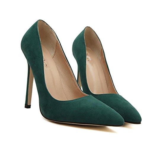 YMXJB Europe et daim léger haut talons chaussures femme Green