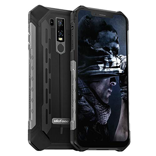 Ulefone Armor 6S (2019) Outdoor Handy Android 9.0, Helio P70 Dual SIM 6GB RAM+128GB ROM+SD,256GB, Smartphone Qi fähig, 6.2 Zoll 21MP + 13MP + 13MP Kameras, 5000mAh Akku, Globale LTE, NFC, Schwarz