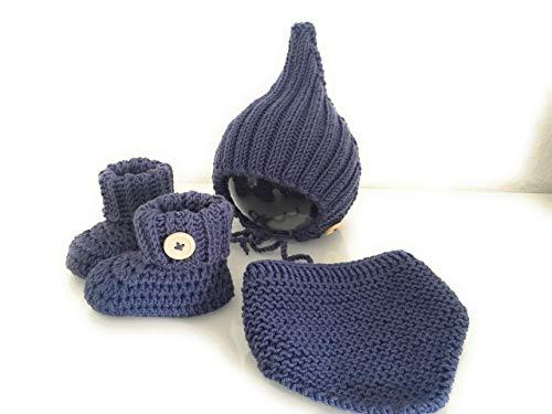 Baby-Set Pixiemütze Boots und Halstuch