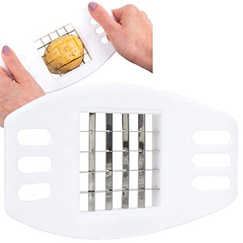 Kartoffel-Schneider [ schnell frische Pommes Frites machen ] Gemüse-Schneider, Messer, Fritten, Pommes-Schneider | Edelstahl | Küchenhelfer in weiß | Movoja®
