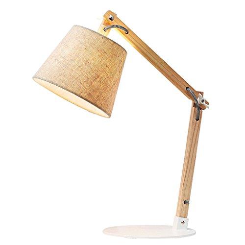 Rundes Leinen Lampenschirm Nachttisch Lampe, Wohnzimmer zwei Abschnitte zusammenklappbar warmen Wohnzimmer Studie Beleuchtung Tischlampe -
