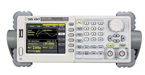 Siglent SDG1025 Digital-Signalgenerator, Funktions-/Arbitrary Waveformgenerator, 20MHz, 125MSa/s, 4,3Zoll, für Analogsensoren, Umweltsignale, Schaltungsfunktionstest, IC-Tests, Ausbildung -