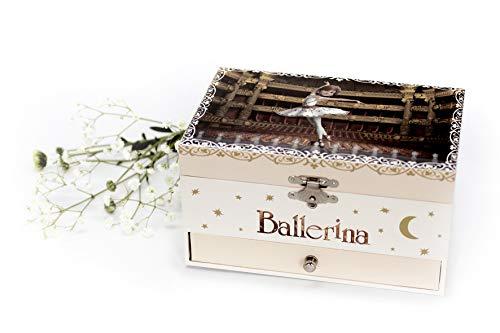 """Caja de música / joyero musical de madera de 18 notas con la pequeña bailarina \""""Félicie\"""" de la una película animada \""""Ballerina\"""" - El lago de los cisnes (P. I. Tchaïkovski)"""