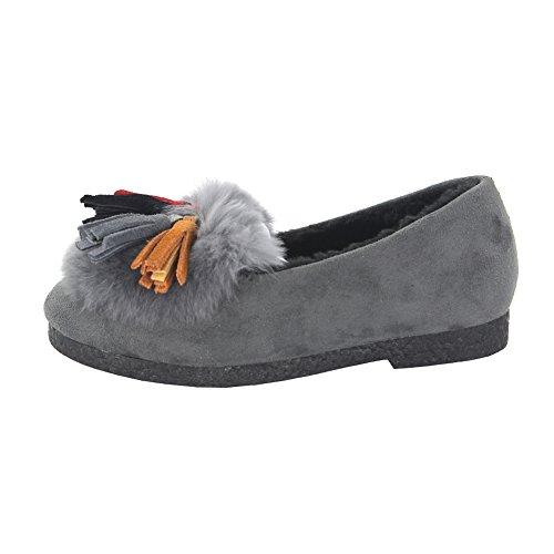 maxu fille PU chaussure Mary Jane gland décoratif sur plat antidérapant Gris