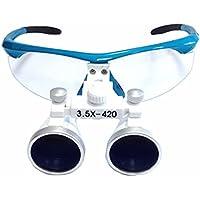 Lupas dentales para de Zgood 3,5X 420 mm, binoculares quirúrgicos en color azul