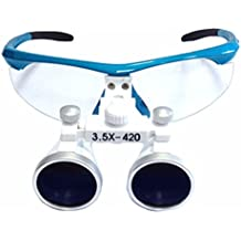 zgood 3,5x 420mm quirúrgica dental Medical Binocular lupa Loupes óptico gafas (azul)