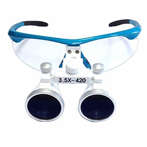 Zgood Zahnmedizinische Brille mit Vergrößerungsgläsern, 3,5x 420mm, blau