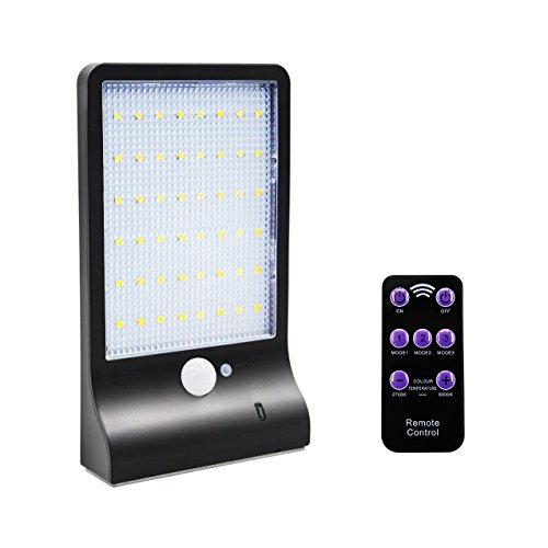 Oro Pool 48 LED Solar Lámpara De Pared Solar Lámpara Lámpara De Exterior  Con Detector De Movimiento Y Mando A Distancia, Resistente Al Agua IP65)  Luz De ...