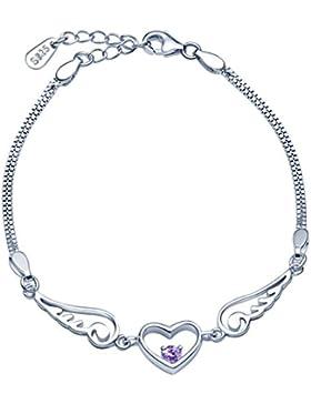 Unendlich U Herz Engelsflügel Damen Strang Armband 925 Sterling Silber Lila/Weiß Zirkonia Charm Armkette Verstellbar...