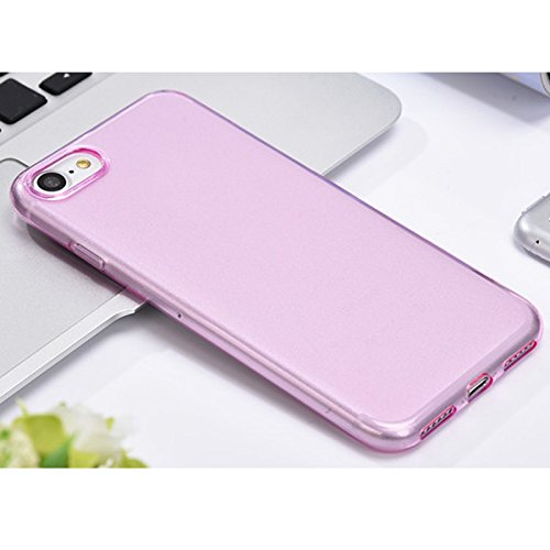 Linyuan Bonne qualité 4.7-inch Fashion Cover Transparent Silicone Protective Cover Phone Case for iPhone 7 Pink