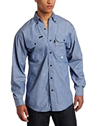 Key Apparel Men's Flame Resistant Button Down Long Sleeve Chambray Shirt