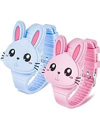 2 Piezas Relojes de Conejo para Niñas Reloj Pulsera de Dibujos Animados de Conejo Reloj Clamshell Cumpleaños Niños
