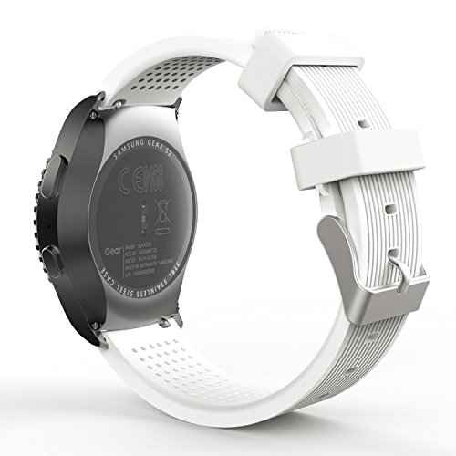 Moko engrenagem S2 Assista bracelete clássico, suave silicone substituição Pulseira Sports para Samsung Galaxy engrenagem SM-S2 clássico R732 / R735 / Galaxy Assista 42mm / Moto 360 2nd (homens 42mm 2015) & Ticwatch 2, BRANCO
