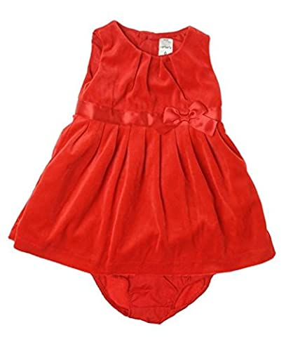 Carter's Baby Girls' Velour Dress W/ Diaper Cover 24 Months Red