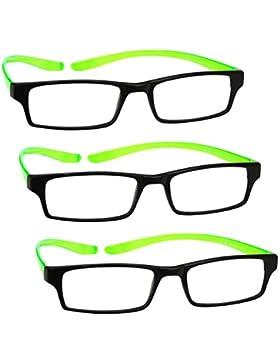 UV Reader Nero Verde Brillante Collo Specs Occhiali da Lettura 3 Pacco Donna Uomo Astuccio Compreso UVR3PK021