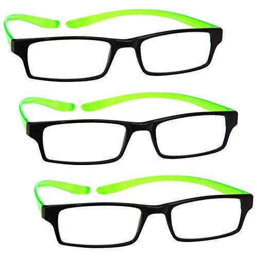 UV Reader Schwarz Leuchtend Grünen Nacken-Specs Lesebrille 3er-Pack Frauen Herren Mit Etui UVR3PK021 Dioptrien +2,50