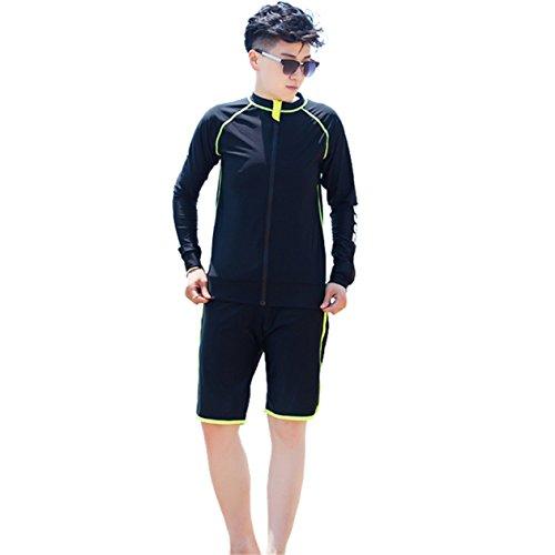 BaronHong Chest Binder Schnell trocknende Surfanzüge Bademode Set Top + Schwimmen Hosen für Tomboy Trans Lesben (schwarz-grün, 4XL)