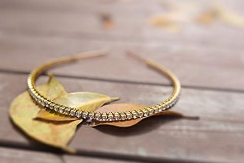 Aukmla Elastiques pour femme Bandeau Doré simples au quotidien Mode Oreillette avec strass