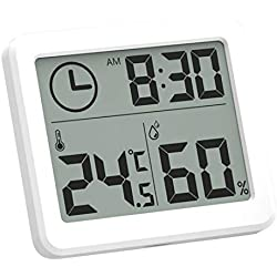 Électronique Thermo-hygromètre,Digital Écran LCD Thermomètre,Mesures Etendue Température de -30°C à +70°C (-22°F à +158°F),Idéal pour Maison, Restaurants Bars et Cafés